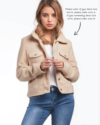 Super Soft Fitted Teddy Jacket Beige