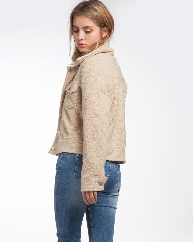Super Soft Fitted Teddy Jacket Beige - Not Your Baby