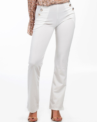 Always On Time Flared Trousers White
