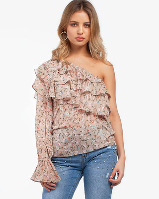 Just My Type One Shoulder Floral Top