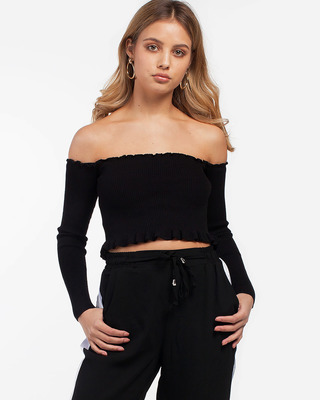 Press Play Ribbed Cropped Top Black