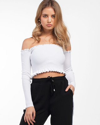 Press Play Ribbed Cropped Top White