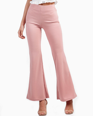 Fashionista Fitted Flared Trousers Pink