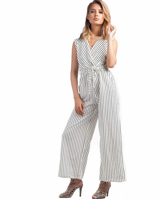On A Break Striped Jumpsuit White
