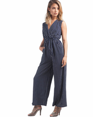 On A Break Striped Jumpsuit Navy