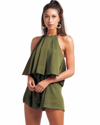 Sunkissed Satin Playsuit Khaki