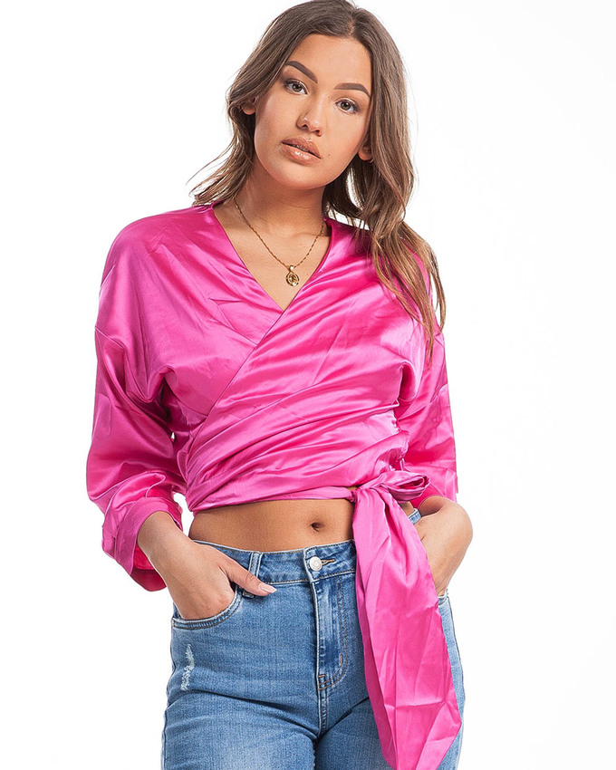 095852307f24fb Cadillac Rides Satin Wrap Top Hot Pink - Not Your Baby