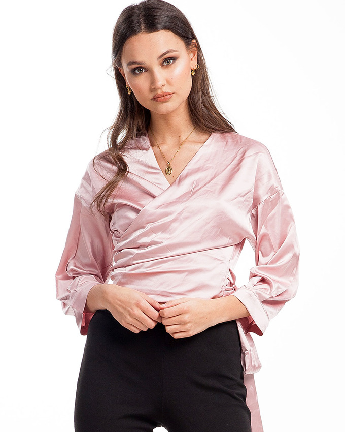 008af0ff73df8d Cadillac Rides Satin Wrap Top Soft Pink - Not Your Baby