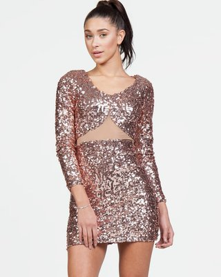Champagne Night Sequin Sheer Dress